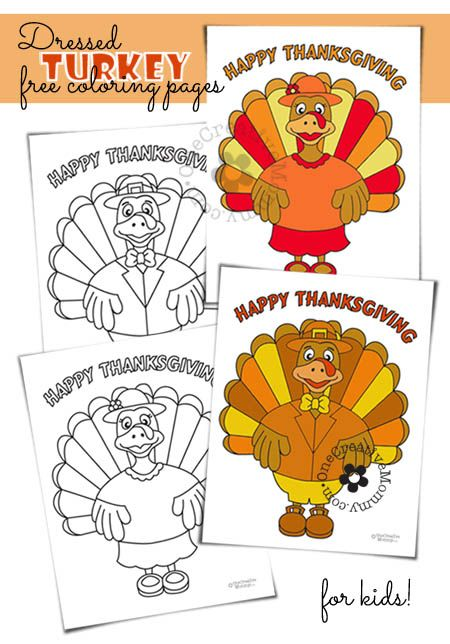Free Thanksgiving coloring pages--While you are in the kitchen preparing TURKEY WITH DRESSING, why not let the kiddos make some DRESSED TURKEYS?  {OneCreativeMommy.com}