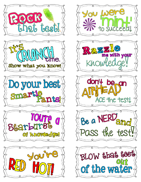 Free! Candy test encouragement notes