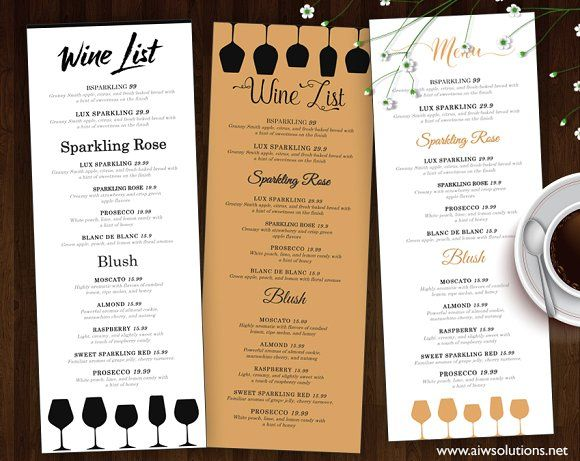 Wine List  Wine Menu By Aiwsolutions On Creativemarket  Flyers