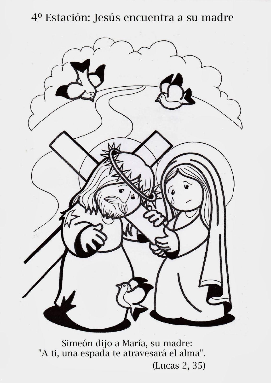 4. Station Jesus begegnet seiner Mutter, Kinderkreuzweg zum Ausmalen ...