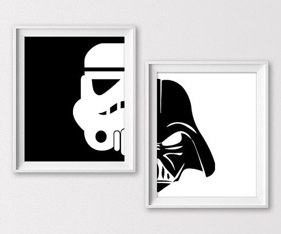 Minimal Black And White Stormtrooper And Darth Vader Prints For