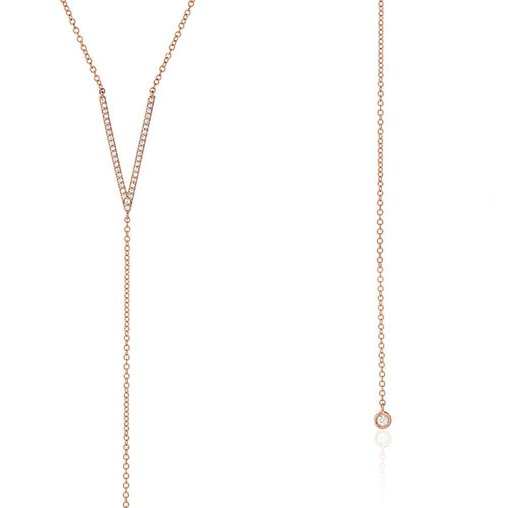 Diamond V and Bezel Lariat Necklace