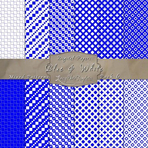 Pretty Mix of Patterns in Blue & White. Click the image to purchase the displayed paper pack OR click here for the other available colors - http://www.legacyphototemplates.com/products-page/pattern-pack-6/  $3.95 #blue, #white, #papers, #paper pack, #digital, #backgrounds, #patterned, #patterns, #downloadable, #printable, #instant, #12 x 12 paper