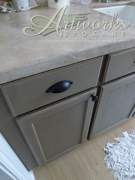 Downstairs bathroom Annie Sloan Coco Chalk Paint™ on laundry room cabinets.