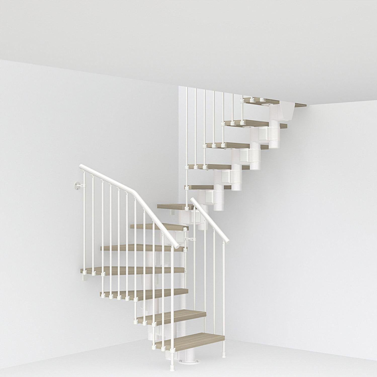 Escalier 2 4 Tournant Revers Acier Blanc Long 12 Mar Orme Clair