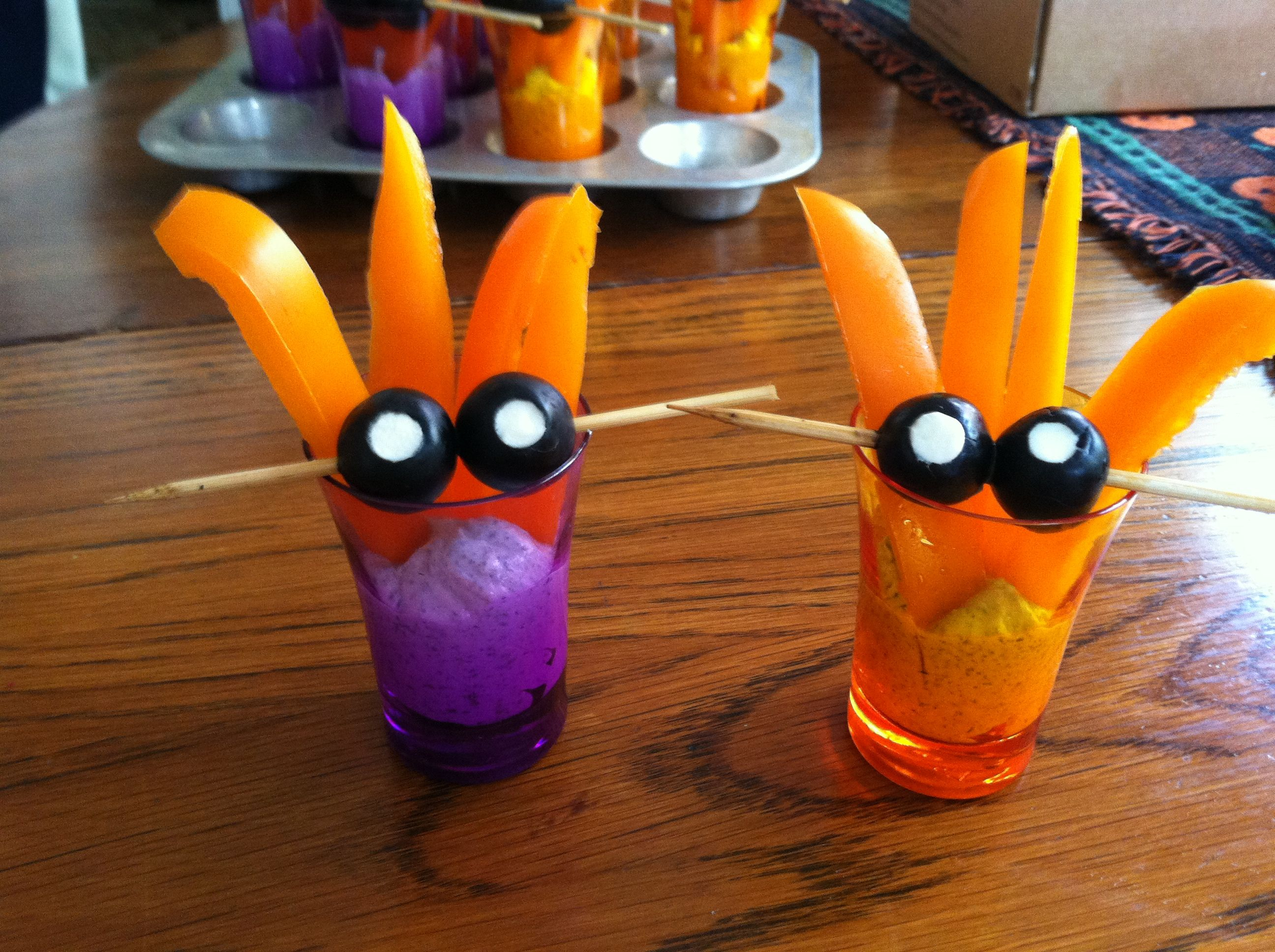 Halloween critters...black olives stuffed with creme