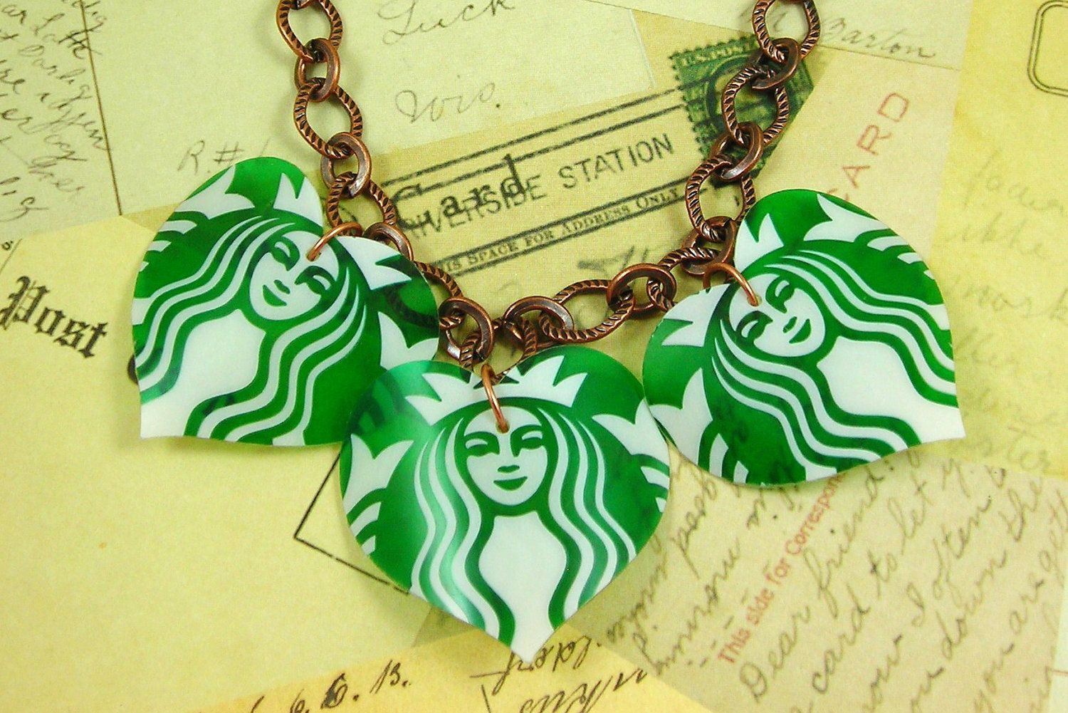 3 Starbucks Heart Necklace.  DOUBLE-sided Plastic.  Recycled Art.. $10.95, via Etsy.