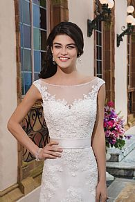 wedding dress with lace and belt