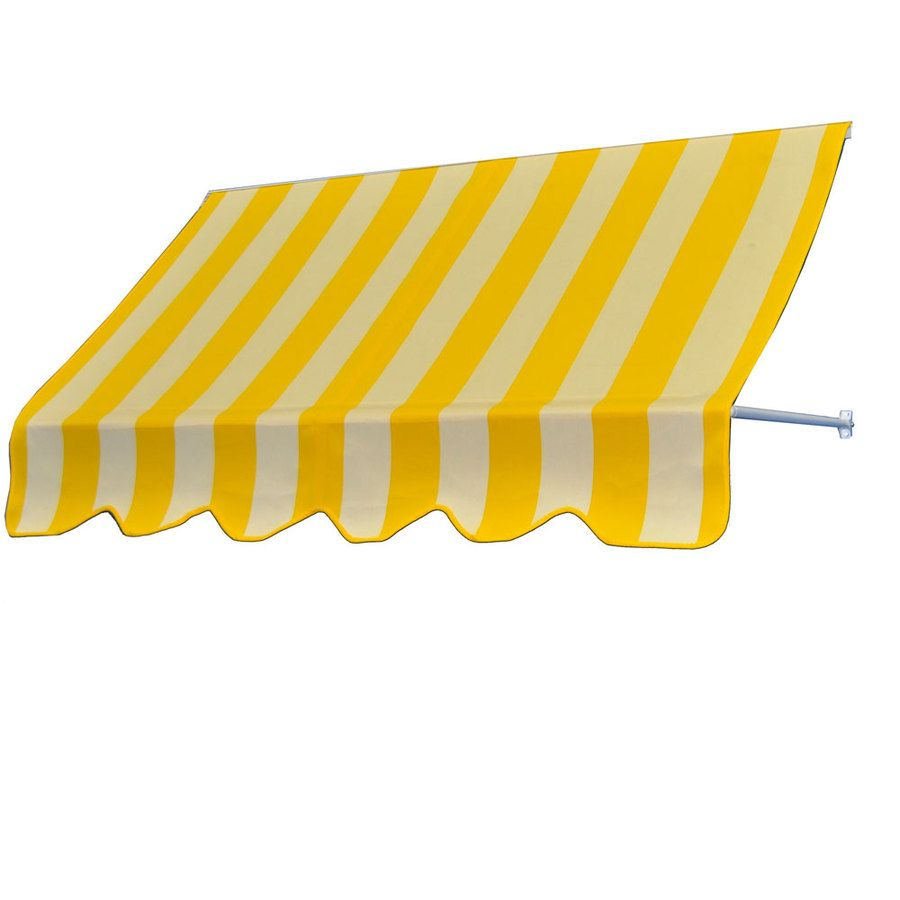 Americana Building Products 30 In Wide X 24 In Projection Beaufort Yellow White Striped Open Slope Low Eave Window Retrac Fabric Awning Awning Sunbrella Fabric