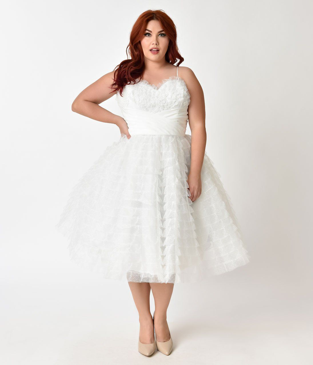 Plus size pin up style wedding dress  Unique Vintage Plus Size s White Ruffled Tulle Sweetheart