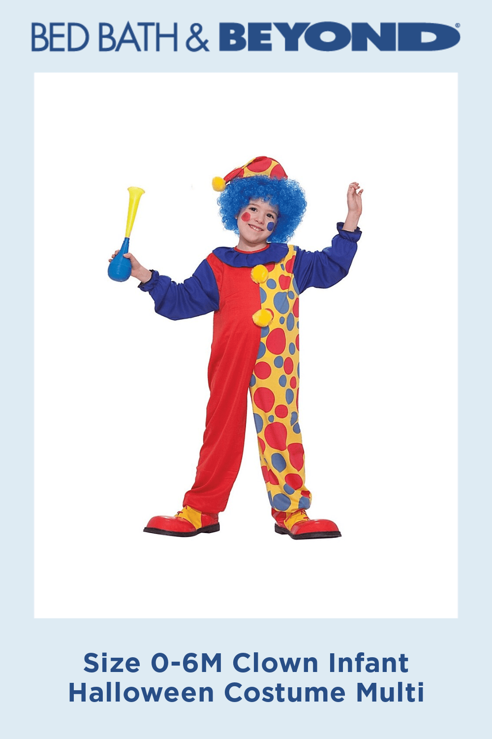 Size 0-6M Clown Infant Halloween Costume Multi