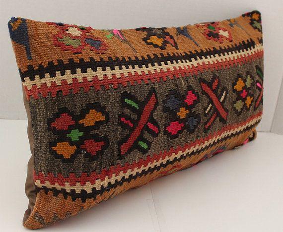 Tribal Lumbar Cushion Cover 12x23 Handmade Turkish Kilim Lumbar ...