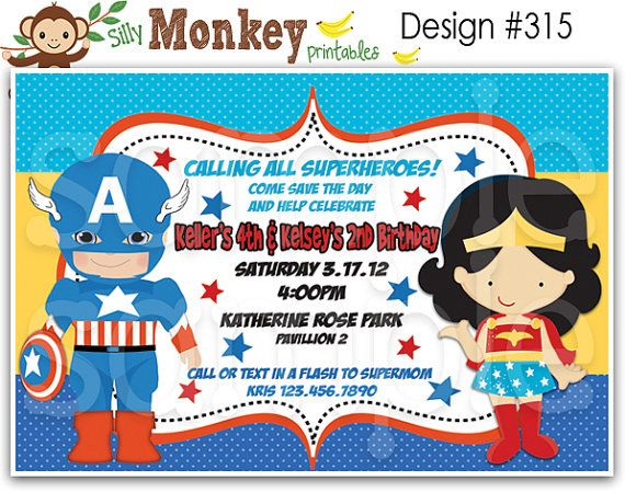 Captain America And Wonder Woman Inspired Birthday Invitation Or