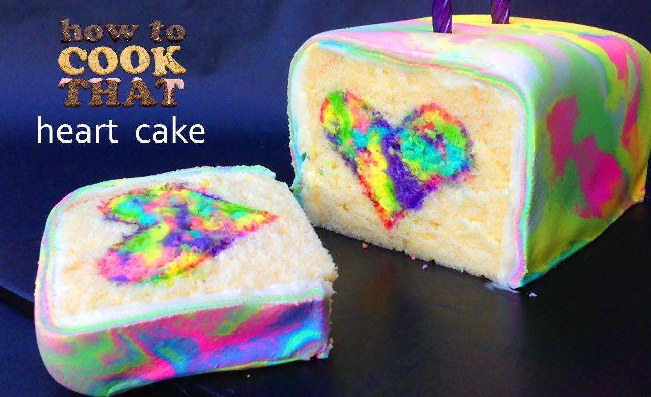 Rainbow Tie Dye Surprise Cake Heart HOW TO COOK THAT Ann Reardon