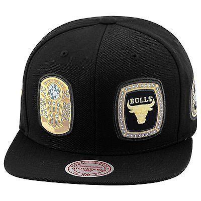 b00a8b0fa2feb Mitchell   Ness Chicago Bulls Snapback Hat Cap ALL BLACK 6 Championship  Rings