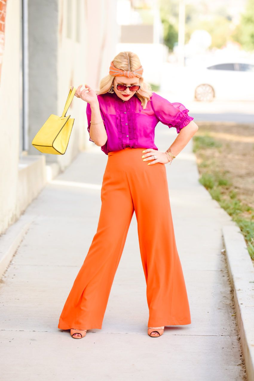 Orange Wide Leg Pants Magenta Top The Hunter Collector Hot Pink Outfit Yellow Outfit Magenta Top