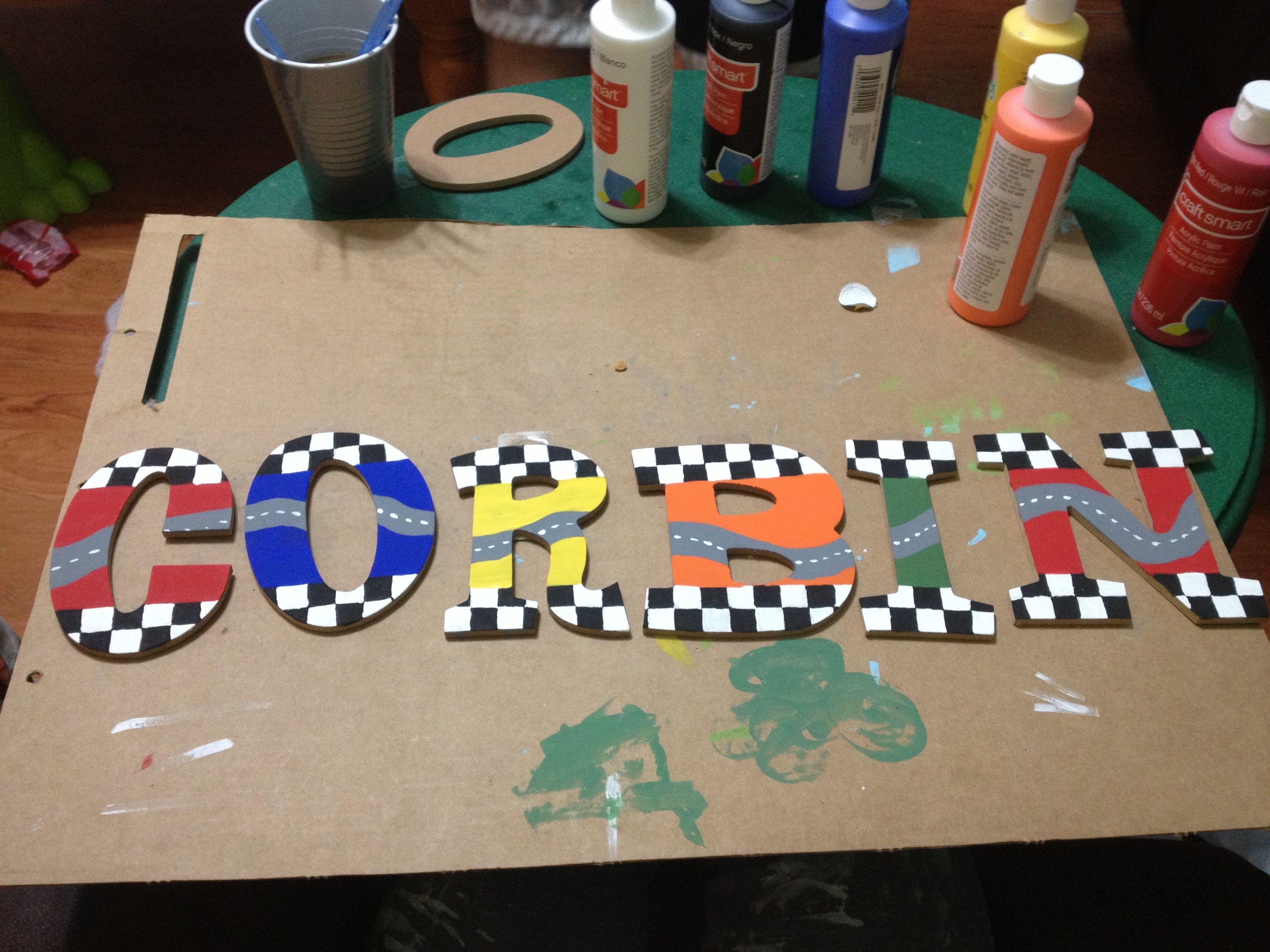 DIY race car theme for the boys\' room! DIY!!! | Boy car room ...