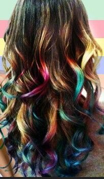 rainbow peekaboo highlights brown hair - Google Search