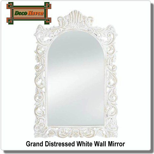 Grand Distressed White Wall Mirror Make Your Wall More Grand With This Gorgeous Vintage Inspired Mirror Th Framed Mirror Wall White Wall Mirrors Mirror Wall
