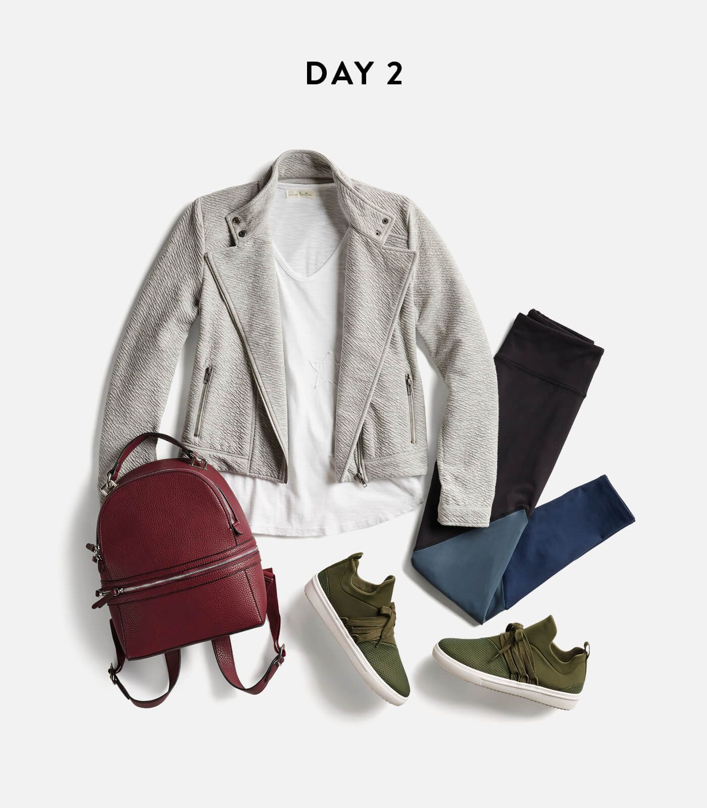I really like these casualness of this outfit:  T-Shirt with a Nice Jacket/Blazer, Skinny Jeans (only I prefer mine distressed), and COOL Statement Sneakers!!!  Not crazy about the Backpack, except I do like the deep red color - just wished it was a medium size purse!