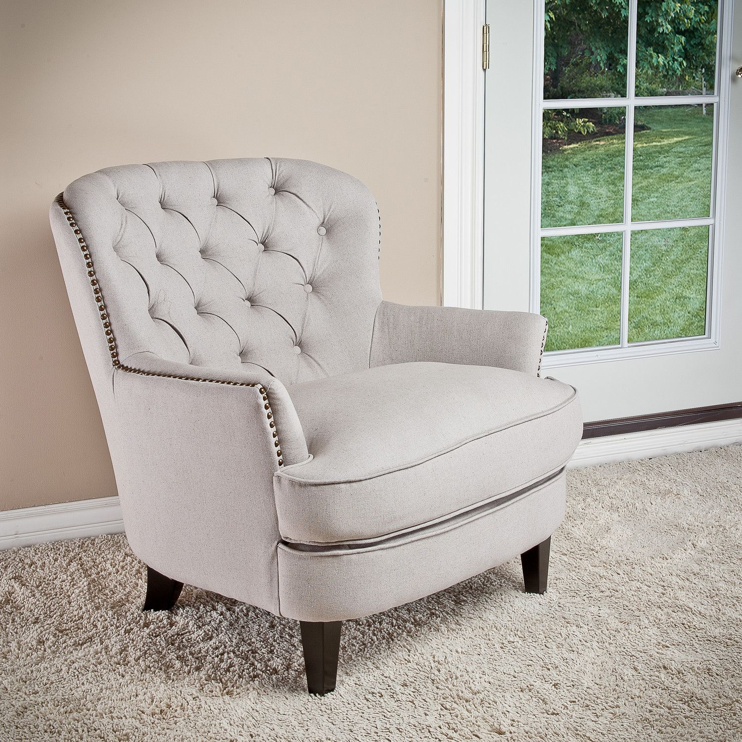Home Loft Concept Jerome Tufted Upholstered Lounge Chair  Linen