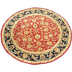 @Overstock - Rug design comes from the Iranian city of MahalWeavers of Mahal design use the asymmetrical or Persian knot on rugNatural dyes are used to give the rugs rich colorshttp://www.overstock.com/Worldstock-Fair-Trade/Indo-Tufted-Mahal-Rug-6-Round/4071101/product.html?CID=214117 $122.39