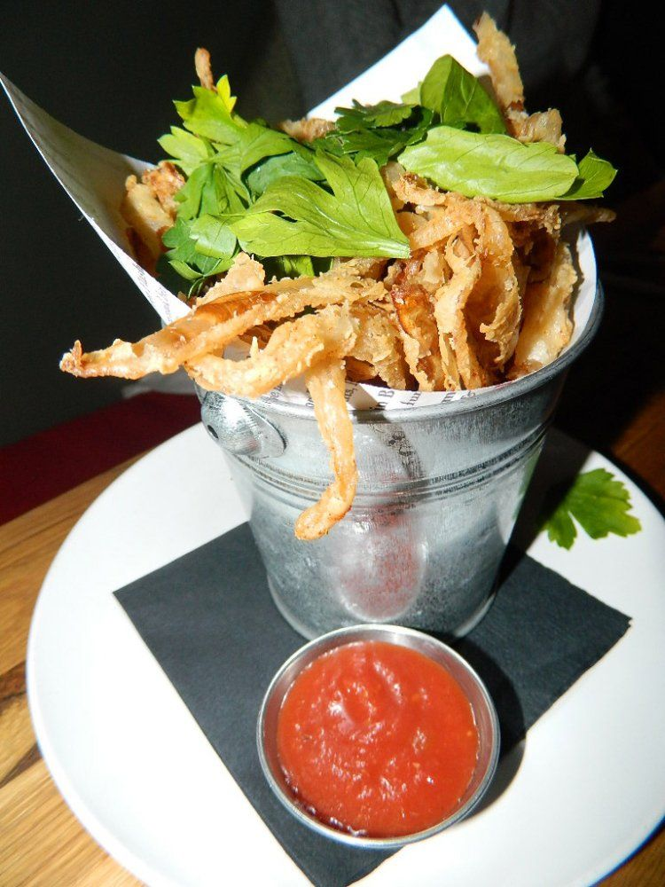 Fried onions at 3Crow in Rockland Maine. Rockland maine