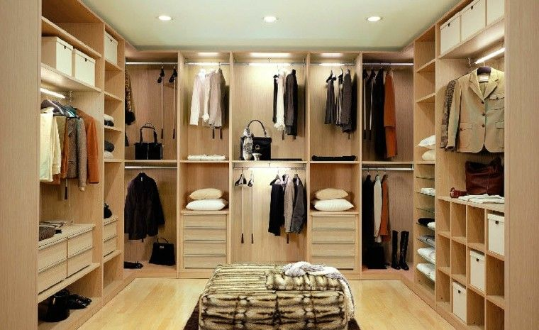 diseño de vestidores madera color beige | Interiores | Pinterest