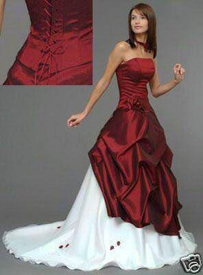 Robe de marie blanche et rouge