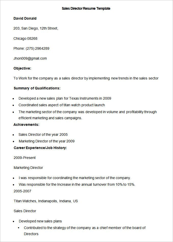 Sample Sales Director Resume Template , Write Your Resume Much - resume examples for sales