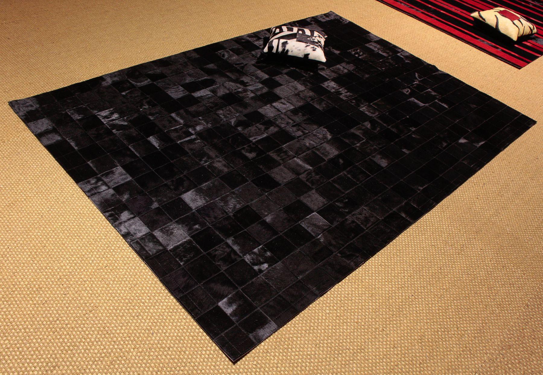 Patchwork negro alfombra de piel color negra y piel for Alfombras de cuero