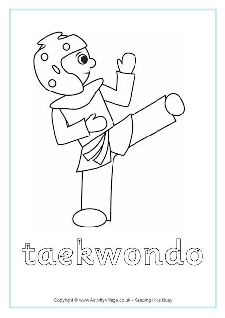 Taekwondo Finger Tracing Taekwondo Taekwondo Kids Coloring Pages