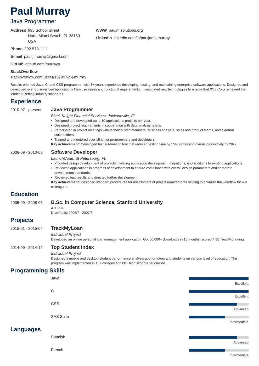 Programmer Resume Template Minimo Job Resume Examples Resume Templates Resume Examples