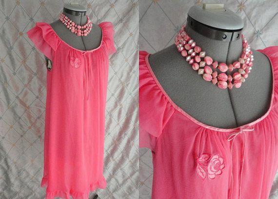 60s Lingerie // Vintage 1960s Bubble Gum Pink Chiffon Nightgown with Floral Appliques Size M L