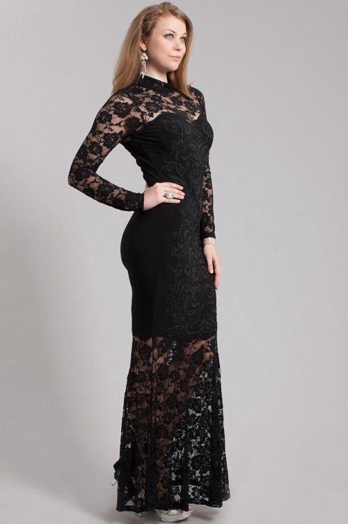 Plus Size Black Floral Lace Maxi Dress | Fashionista | Pinterest ...