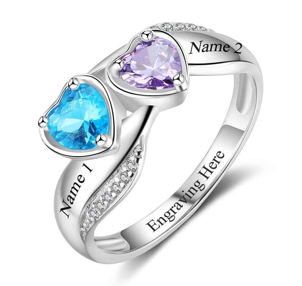 2 Stone Lovely Hearts Mothers Ring Or Promise Ring Diamond