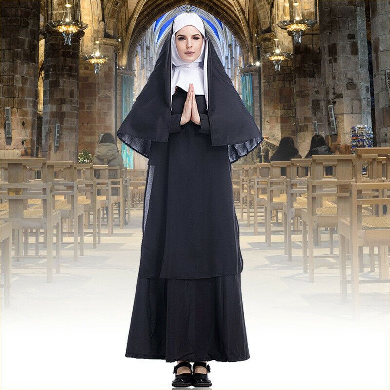 NUN CATHOLIC RELIGIOUS FANCY DRESS HALLOWEEN COSTUME