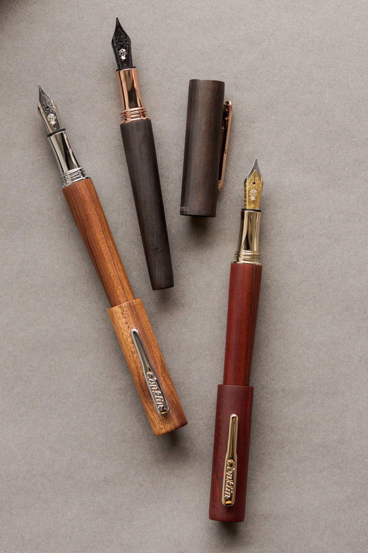 Calligraphy Bamboo Fountain Pens Ink Refills Metal Pen Clip Mahogany Pencil