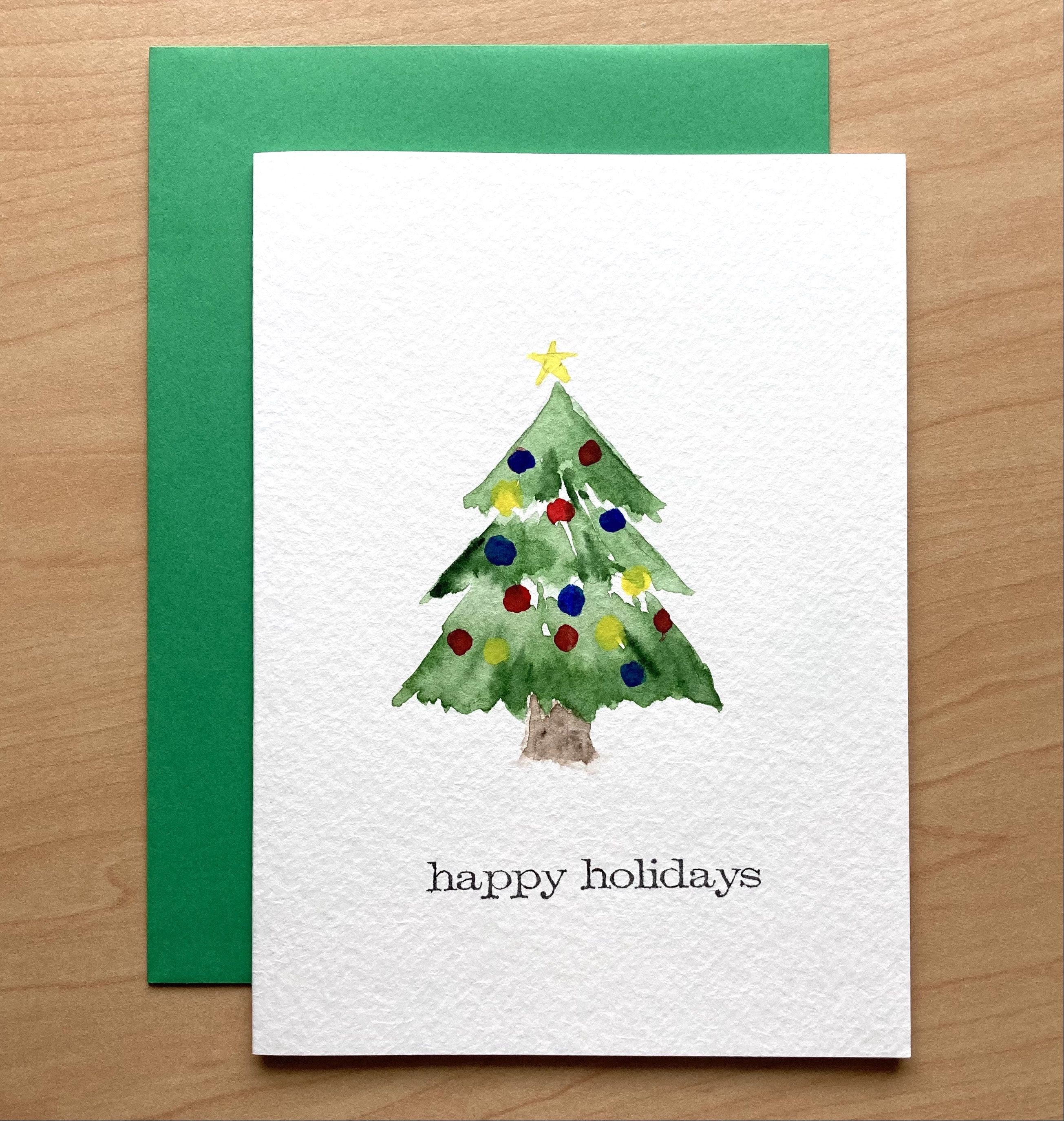 Hand Painted Holiday Card 5x7 Christmas Tree Card Original Watercolor Card Handmade Car Unique Christmas Cards Watercolor Christmas Cards Hand Painted Card