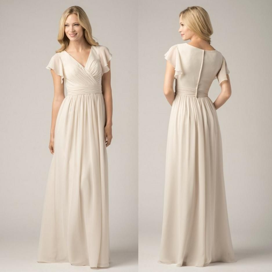 2015 Long Chiffon Beach #Bridesmaid Dresses with Short Flutter Sleeves For Modest Maid of Honors Hot Sale Cheap V-Neck Bridal Party Gowns Online with $74.63/Piece on Sarahbridal's Store | DHgate.com