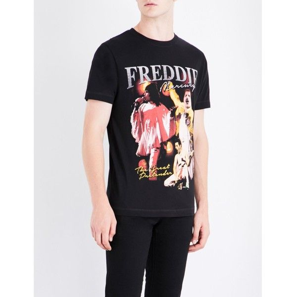 TRIBUTE COLLECTION Freddie Mercury-print cotton-jersey T-shirt ($38) ❤  liked on Polyvore featuring men's fashion, men's clothing, men's shirts, ...