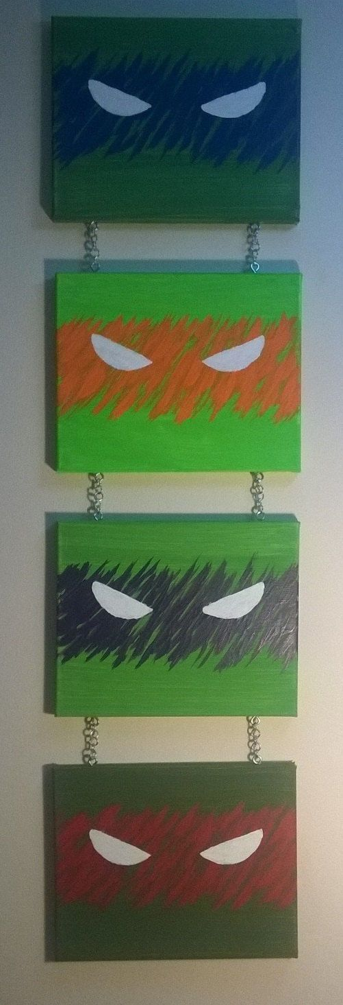 Painting Is Made To Order Will Be Similar To Posting Pictures But Also Unique And One Of A Kind Acrylic Ninja Turtles Wall Art Ninja Turtle Room Turtle Room