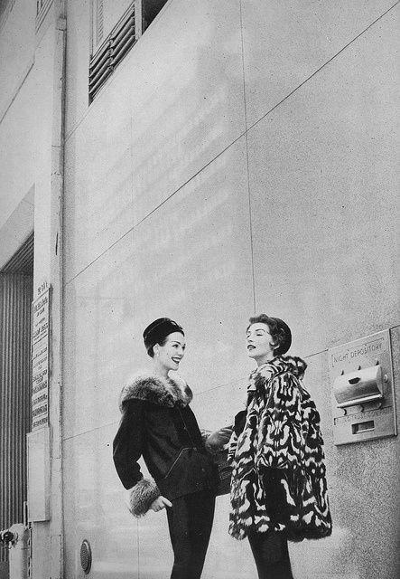 Harper's Bazaar, 1956. Photo: Gleb Derujinsky. Model on right: Ruth Neumann-Derujinsky.