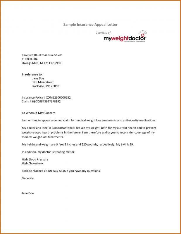 Insurance Appeal Letter | Medical insurance, Lettering ...