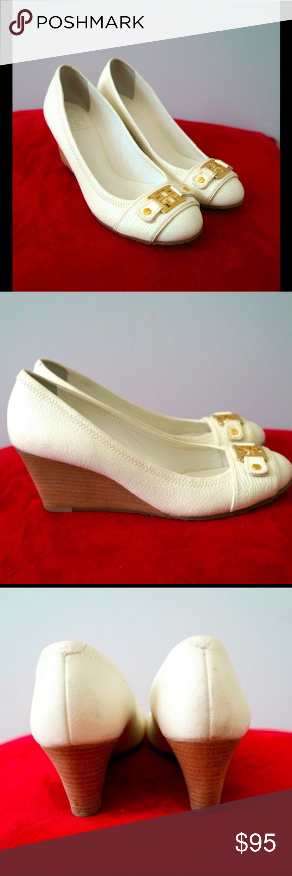 dbd5aec2d346d Tory Burch Natalya mid wedge white heels White tumbled leather with gold  medallions. Size 7.5