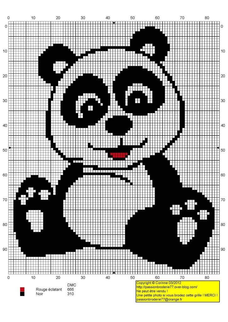 Panda para bordar | Pandas | Pinterest | Punto de cruz, Bordado y Puntos