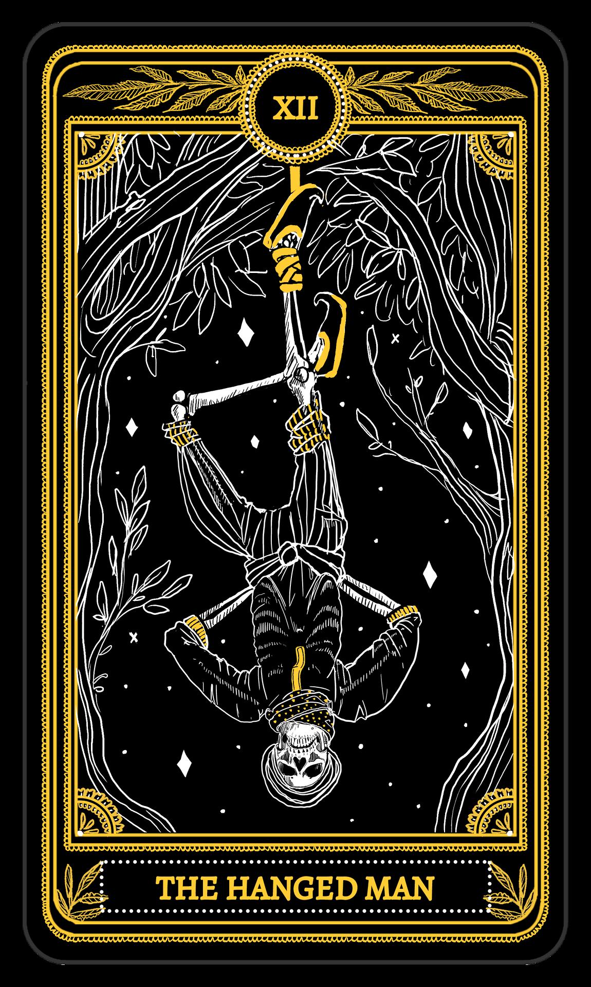 The Marigold Tarot Major Arcana: The Chariot, The Hanged
