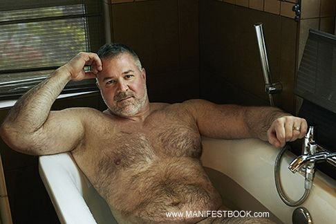 Hairy mature after bath