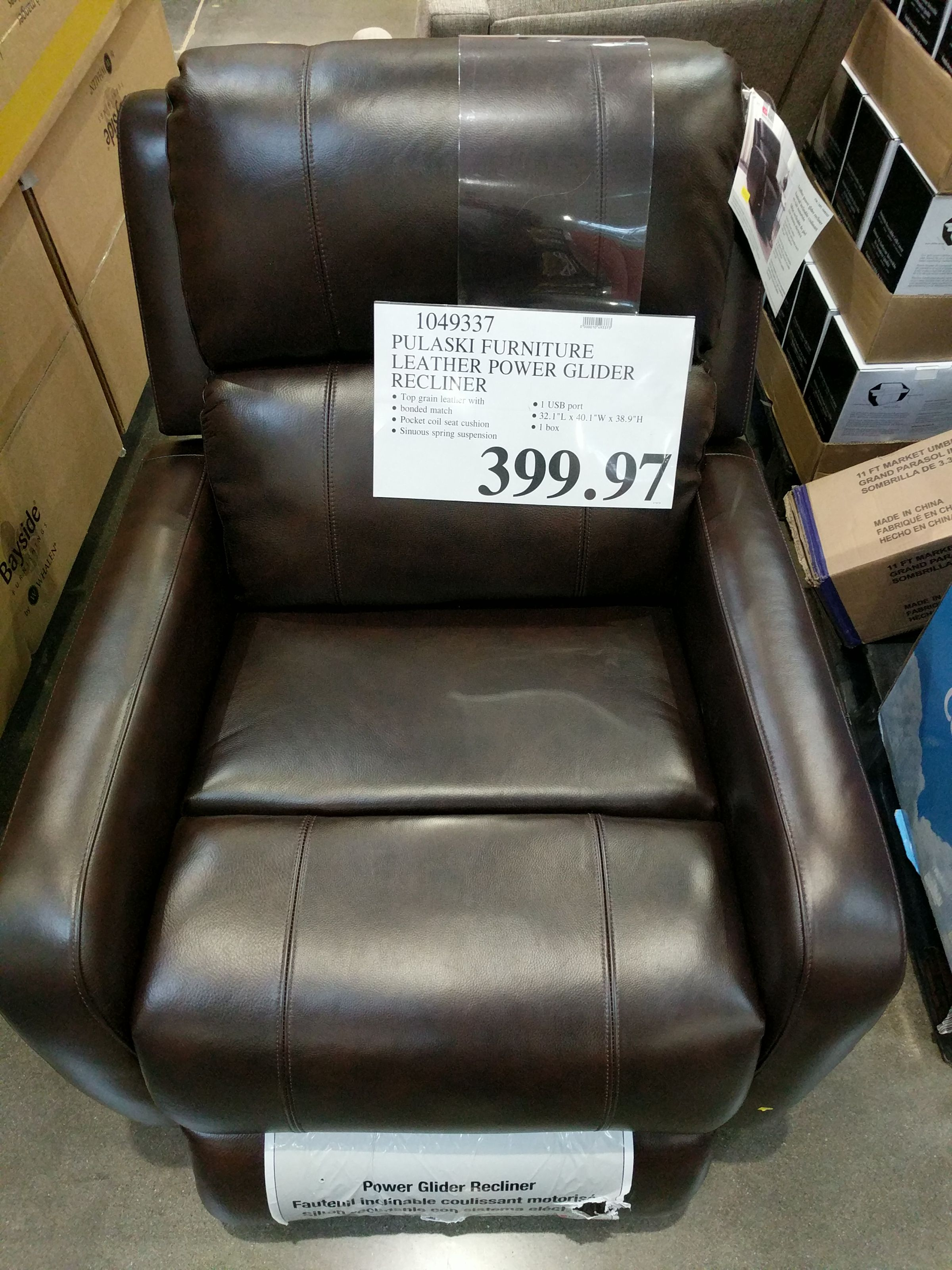 new product 407d7 2b7b3 Pulaski Furniture Larkin Leather Power Glider Recliner ...