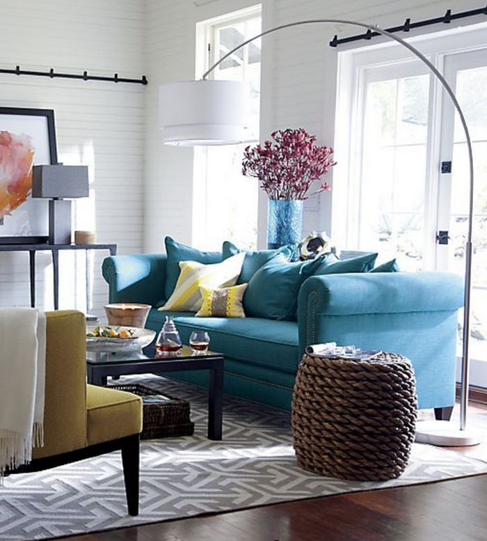 Blue Sofa Carpet Yellow Accents Cool Coffee Table Interiores